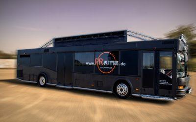 Partybus schwarz Seitenansicht für bis zu 37 Personen